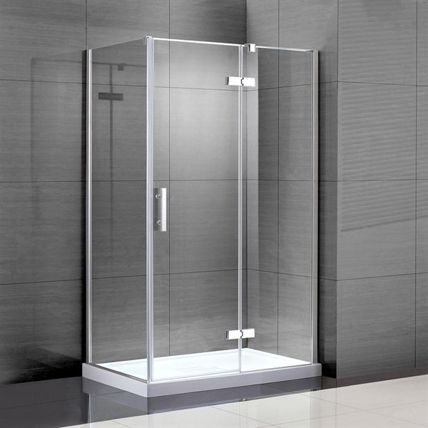 shop jacuzzi lea 48-in w x 76-in h frameless pivot shower door at