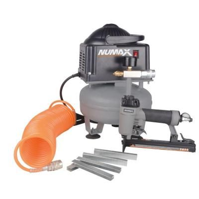 1 5 Gal Oil Free Compressor And Upholstery Stapler Combo Kit