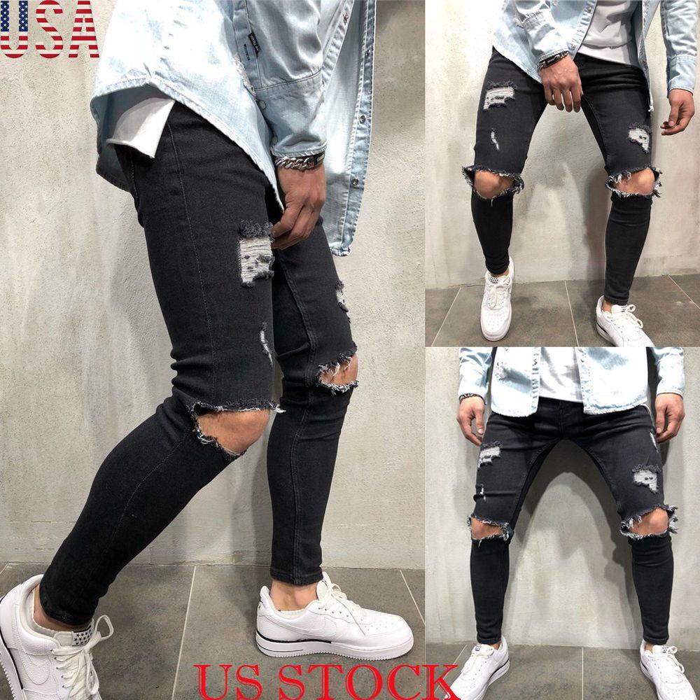 209904f31174a Mens Skinny Jeans Ripped Slim fit Stretch Denim Distress Frayed Biker Jeans  Boys  fashion