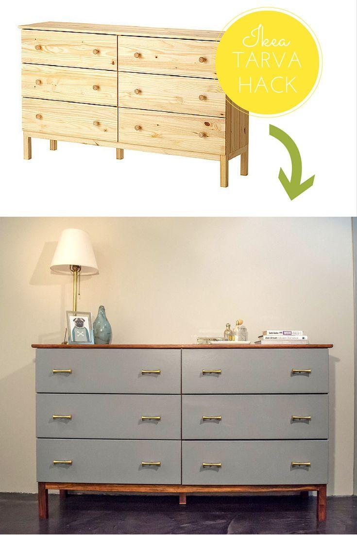 ikea tarva hack mid century inspired ikea tarva makeover. Black Bedroom Furniture Sets. Home Design Ideas