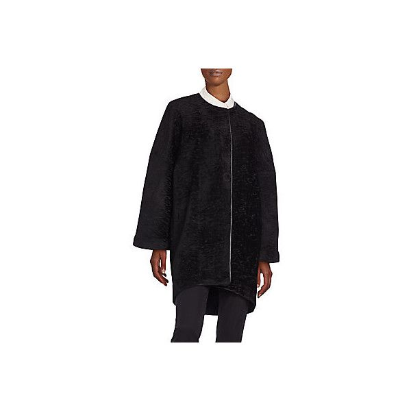 ISSA Allyson Textured Velvet Cocoon Coat ($300) ❤ liked on Polyvore featuring outerwear, coats, black, issa, oversized cocoon coat, long sleeve coat, textured coat and velvet coat