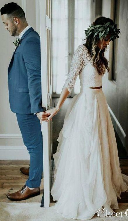 Two piece boho wedding dresses with sleeves.Gorgeous rustic wedding dresses for fall.#bohowedding #bohoweddingdresses #weddingdresses #weddingdress #w…