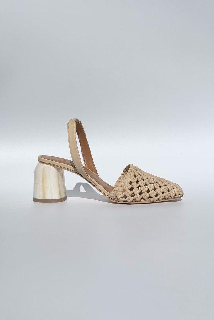 Sandales à talon carré , en reptile gris JONAK