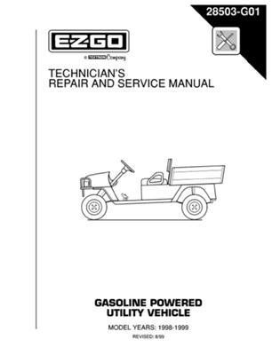 Ezgo 28503g01 1998 1999 Technician S Repair And Service Manual For Gas St350 Workhorse By Ezgo 68 50 Please Search Ezgo M Technician Repair Utility Vehicles