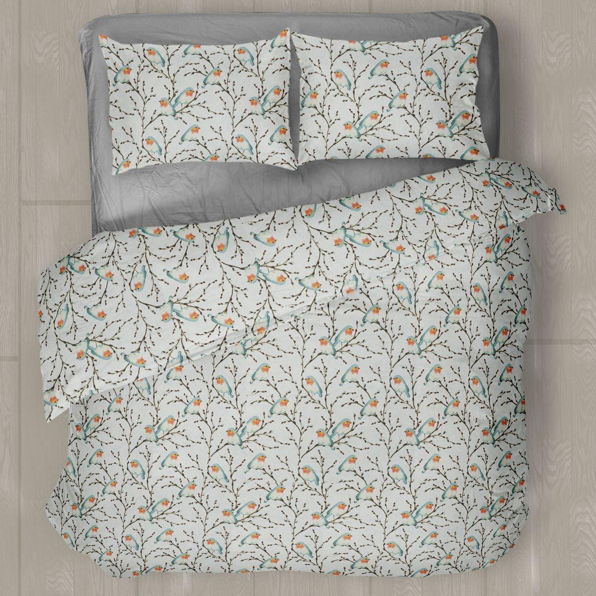 Linen Chest Chickadees Flannel Sheet Set Sheet Set Duvet Cover