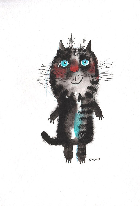 The good mood cat | Nastassia Ozozo via Etsy.  Ann Bickel