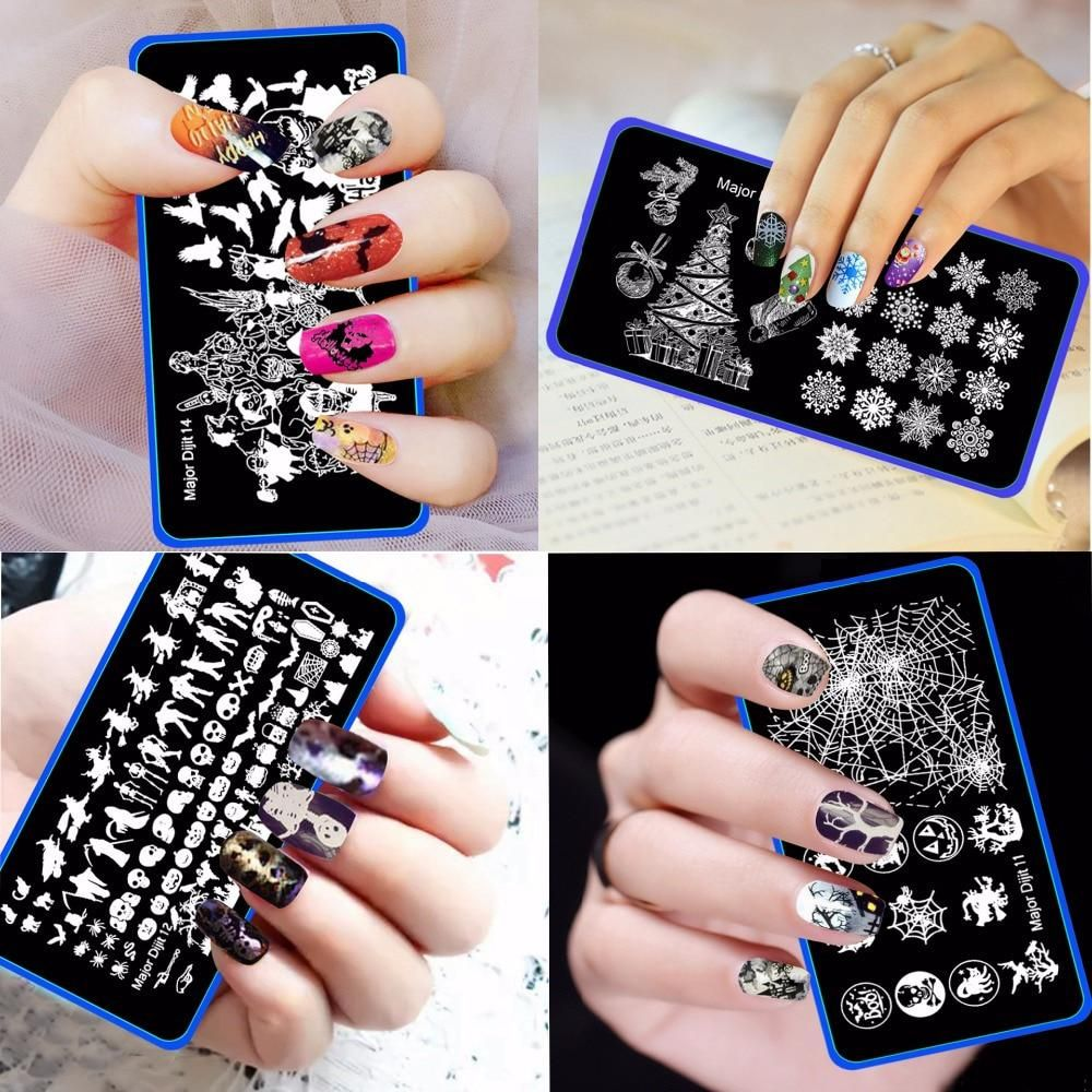 Pcs christmas halloween cm pattern nail stamping plates image