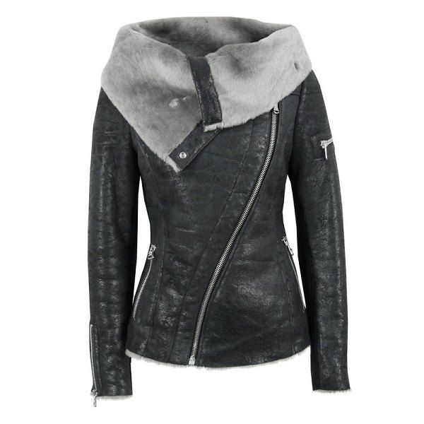Stylish Long Sleeve Turn-Down Collar Zippered Women's Leather ...