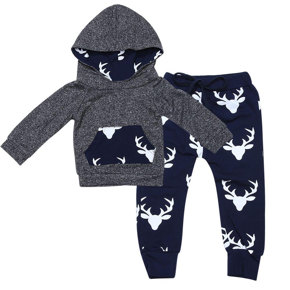 1Set Kids Toddler Boys Spring Pullover Handsome Black Blouse Gray Casual Pants