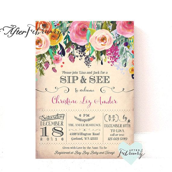 Sip And See Invitations Girl, Sip And See Invite, Meet And