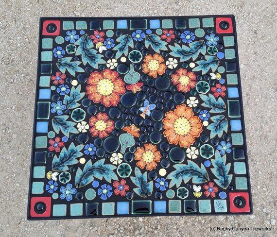"""16"""" Square, mosaic garden art tile table. Handmade ceramic poppies, bees flower garden art tiles."""