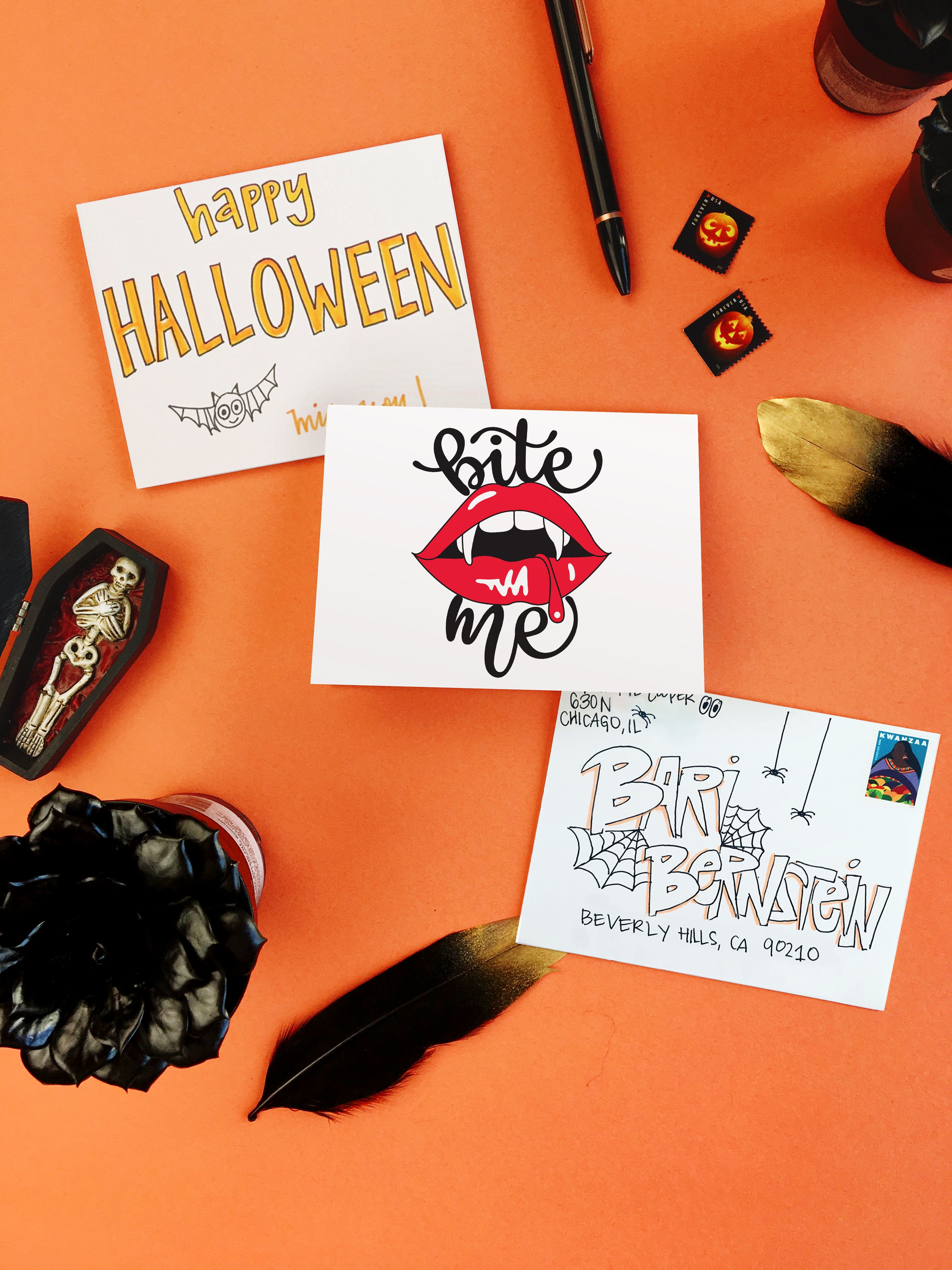 """send this """"bite me"""" halloween card with punkpost. download the app"""