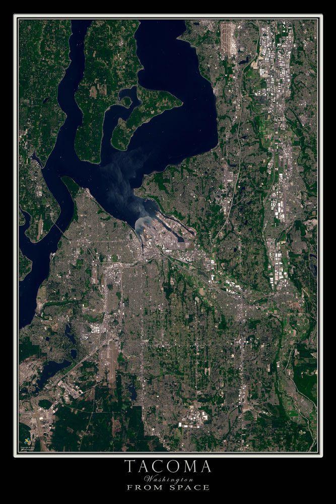 Tacoma Washington Satellite Poster Map Tacoma Washington - World map online satellite 2014