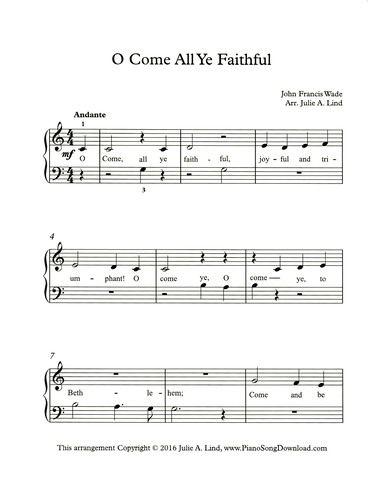 O Come All Ye Faithful, easy printable Christmas piano music ...
