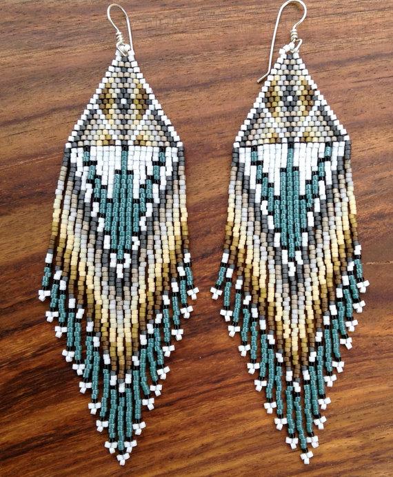Animal Print Style Stud Fringe Earrings 925 Silver Studs Glass Beaded Native American Style Earrings Hand Sewn Tassel Fringe Earrings UK