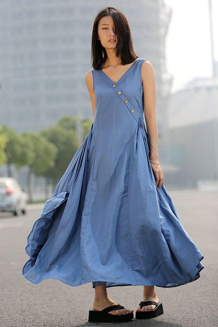 Summer dress linen dress maxi dress casual dress woman dress