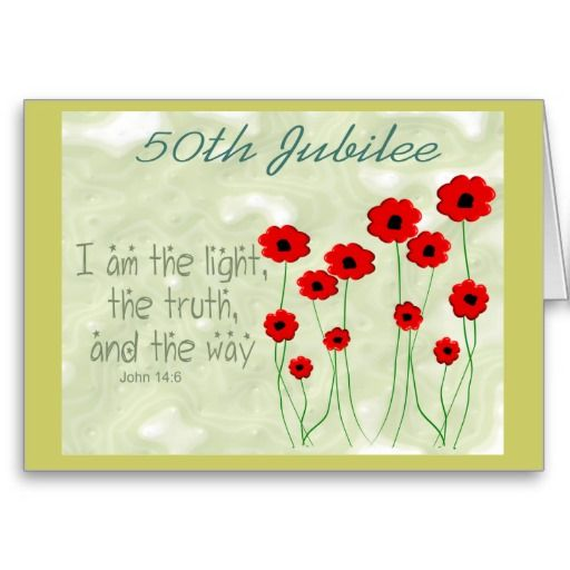 Catholic Nun 50th Jubilee card, red poppies, bible verse. http://www.zazzle.com/catholic_nun_50th_jubilee_card-137944304586207716?rf=238282136580680600