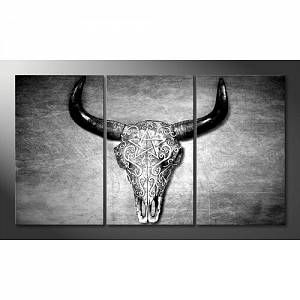 'Black and White Head' Graphic Art Print Multi-Piece Image on Canvas World Menagerie Size: 100 cm H x 180 cm W, Format: