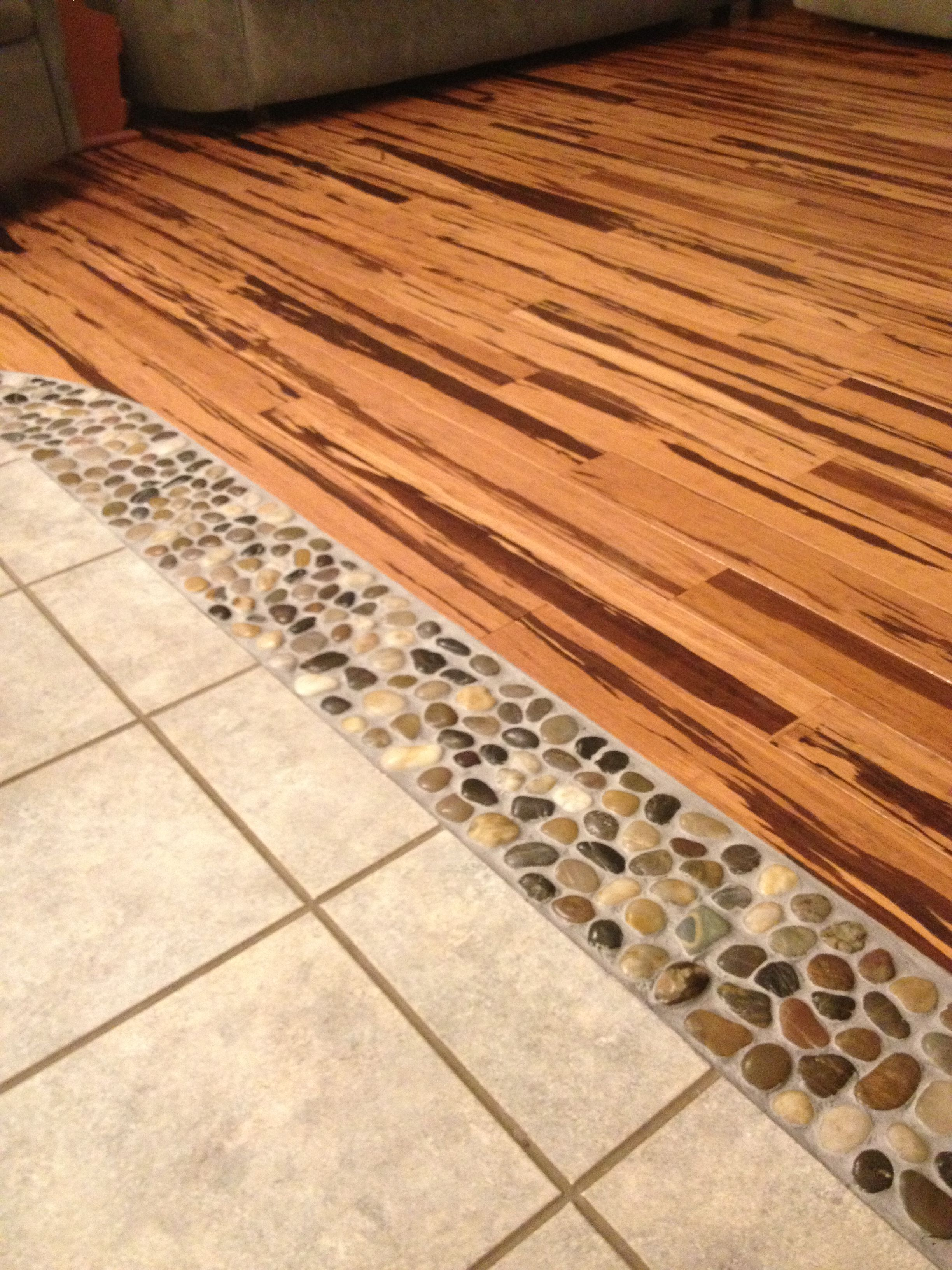 Love my DIY floor project River rock & strand bamboo flooring