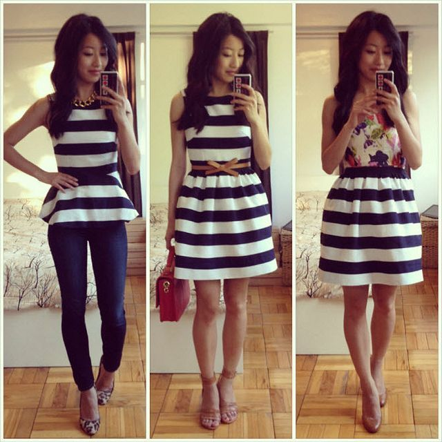 DIY dress worn 3 ways- this blogger created a peplum top and a full ...