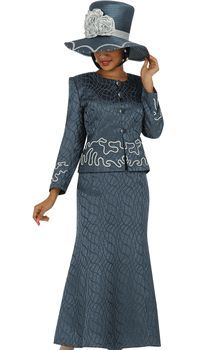 2pc Jacquard GMI Church Suit Charcoal With ...