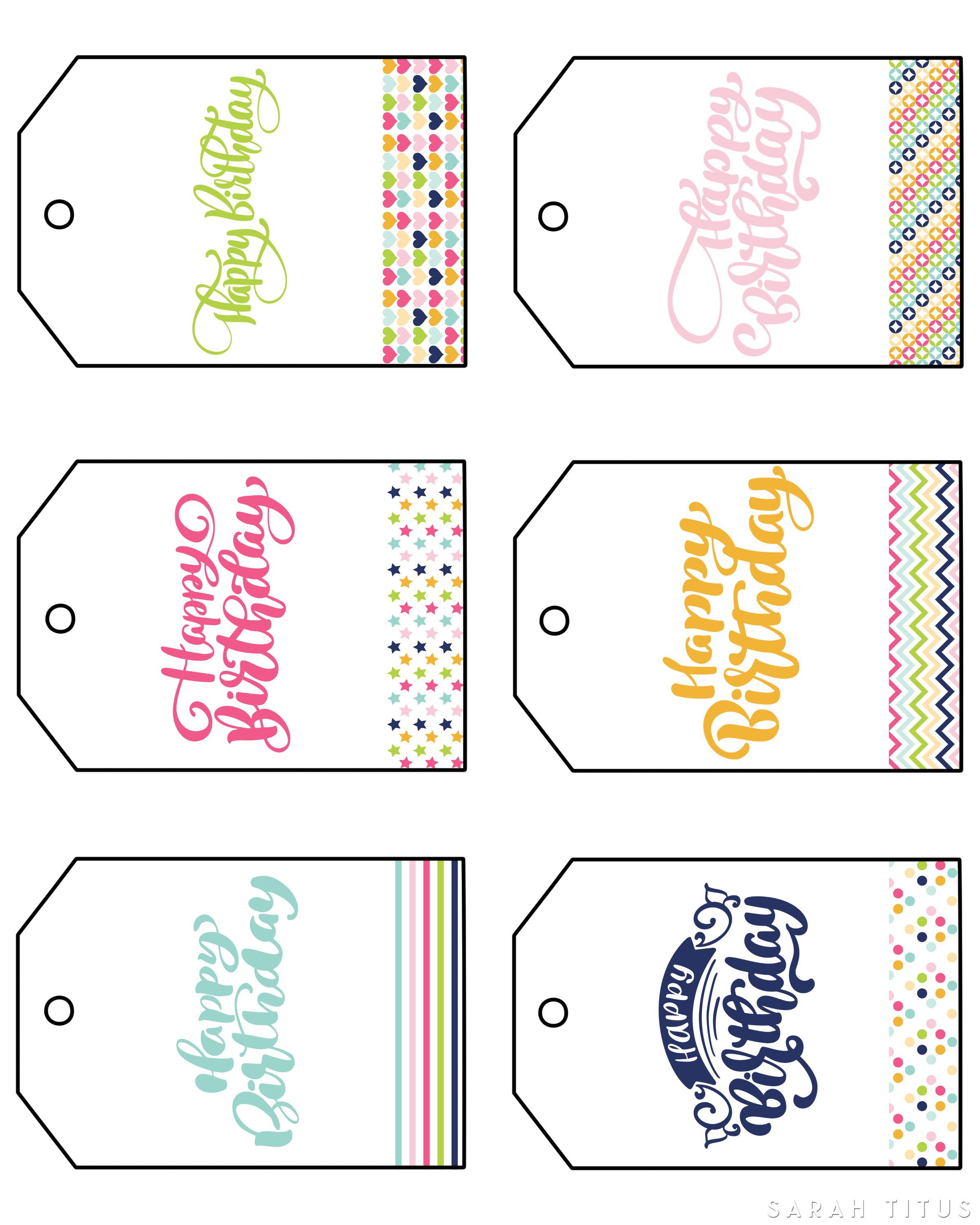 These Free Printable Happy Birthday Gift Tags Are Different Than The Basic Read Borin Birthday Gift Tags Printable Gift Tags Birthday Free Birthday Gift Tags