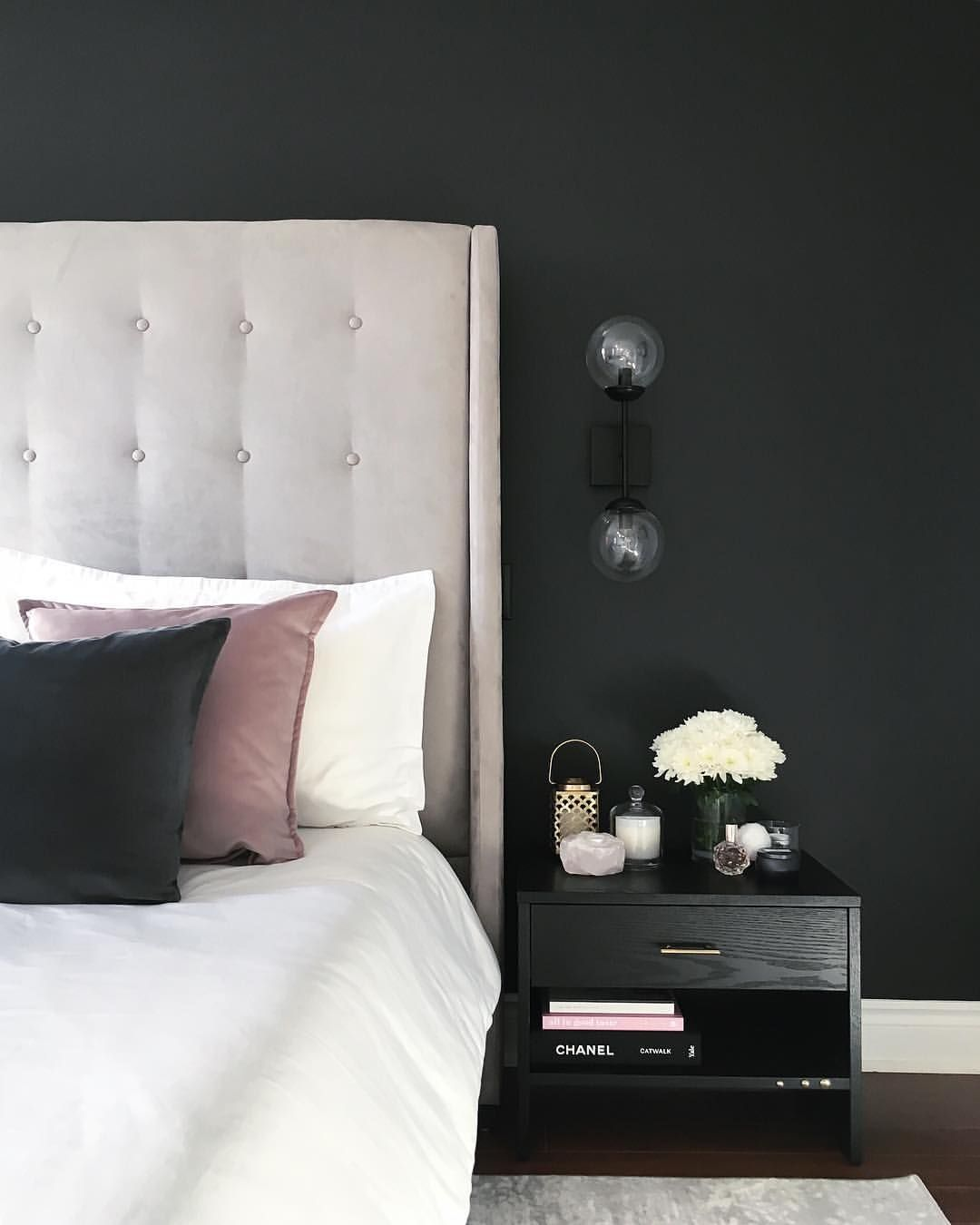 Master Bedroom By Interior Boutique Design Studio Charcoal Feature Wall Modern Gre Feature Wall Bedroom Grey And Gold Bedroom Wallpaper Bedroom Feature Wall