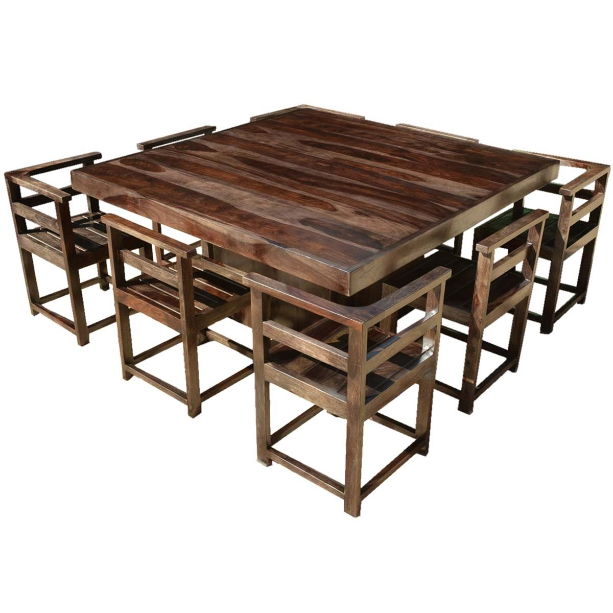 Modern Rustic Solid Wood 64 Square Pedestal Dining Table 8