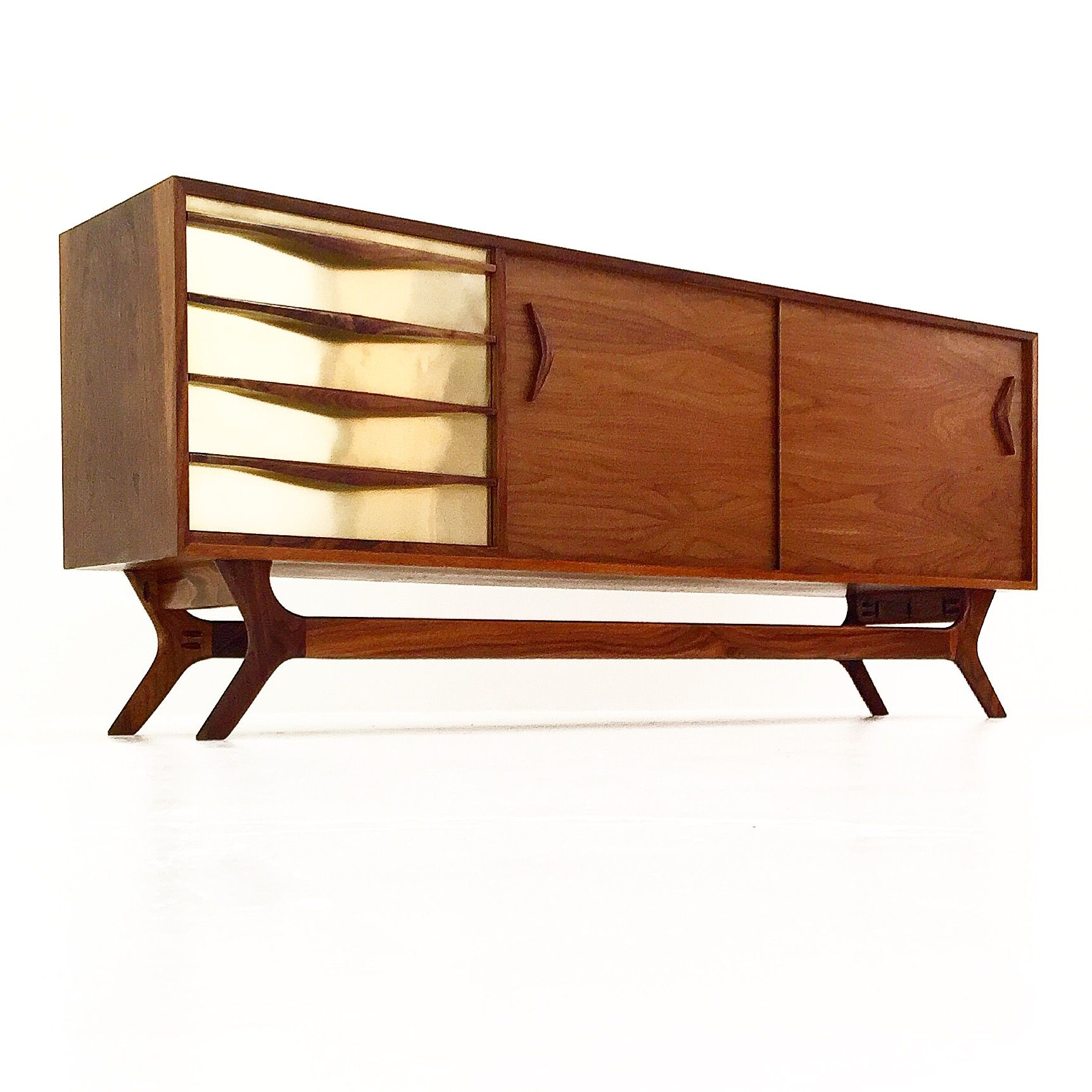 #brass #metal #drawers #credenza #walnut #midcentury #handcarved #madeinla
