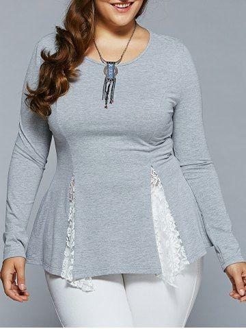 Plus Size Lace Insert Asymmetrical Blouse 2