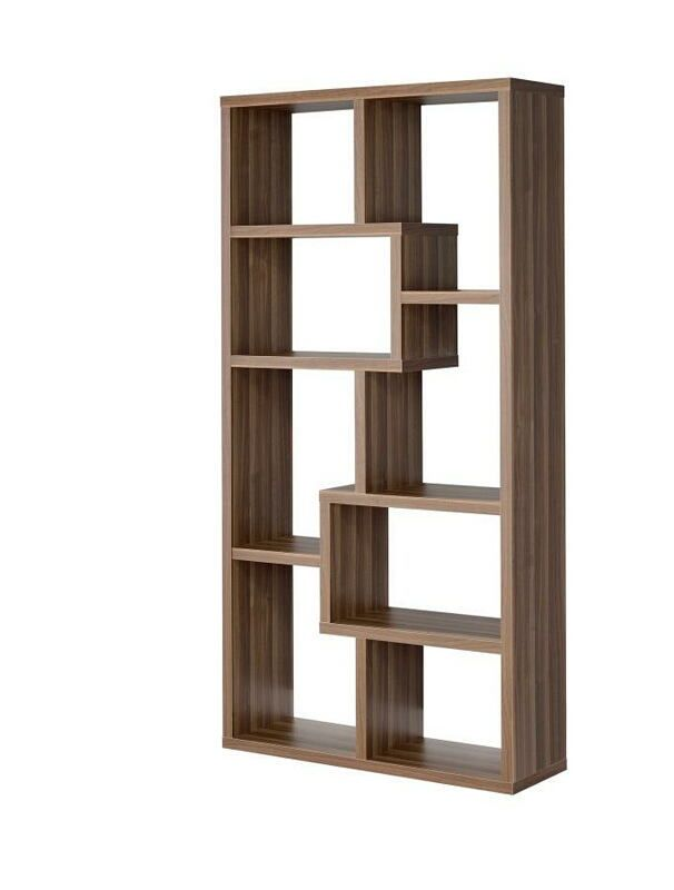 801138 Walnut Finish Wood Multi Tier Bookshelf With Alternating