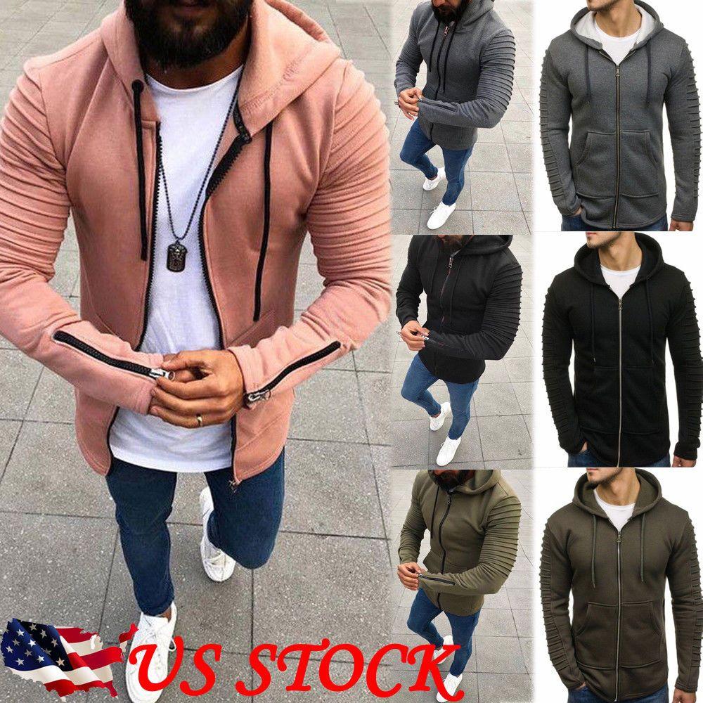 GREFER Men Warm Hooded Sweatshirt Jacket Outwear Sweater Winter Slim Hoodie Coat Blue