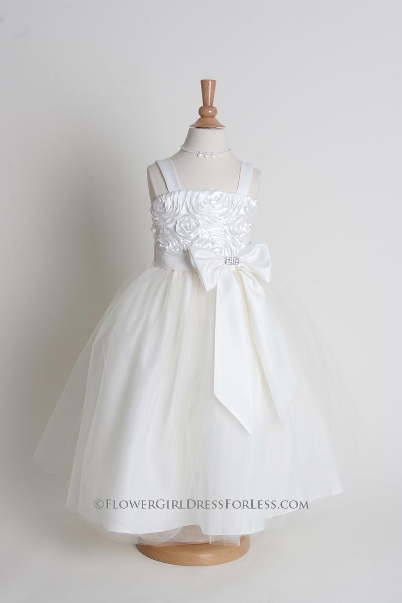 Kki flower girl dress style satin dress with ruffle