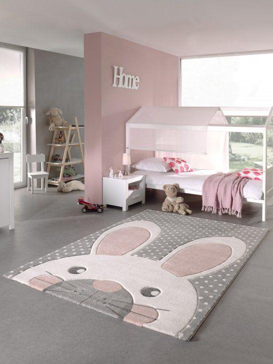 Babykamer Meisje Grijs Roze.Vloerkleed Kinderkamer Konijntje Grijs Roze Meisje