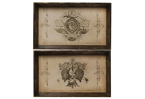 One Kings Lane - The Fall Farmhouse - S/2 Trays, Coat of Arms