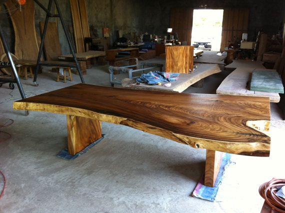 Live Edge Dining Table Reclaimed Extremely Large Rare By Flowbkk