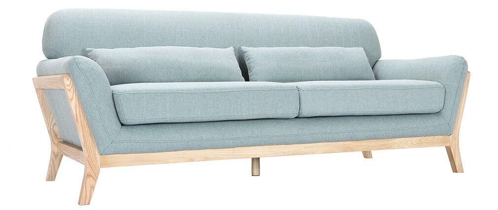 Sofa skandinavisch 3 Plätze Lagunenblau Holzbeine YOKO | Wohnung ...