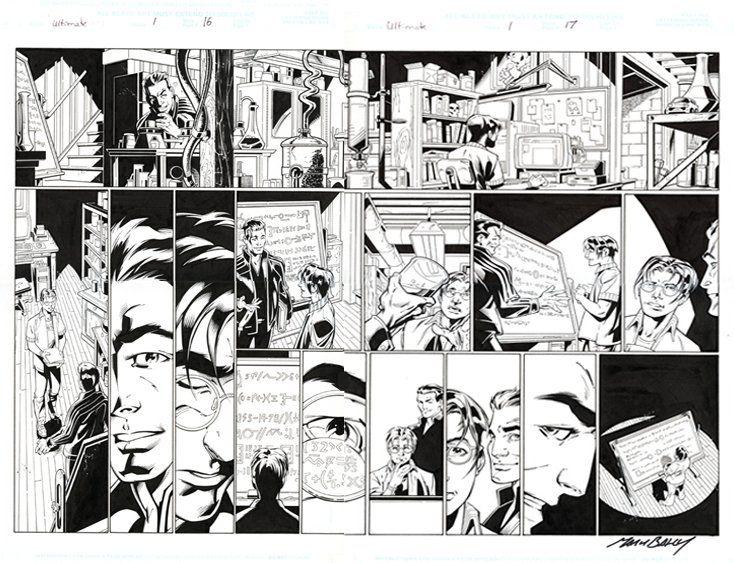 Mark Bagley - Ultimate Spider-Man 1 pg.16-17 Comic Art