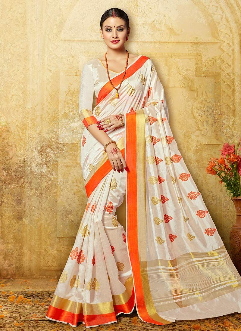 fa63cdaa72 Buy Off White N Orange Art Silk Saree online from the wide collection of  sari.