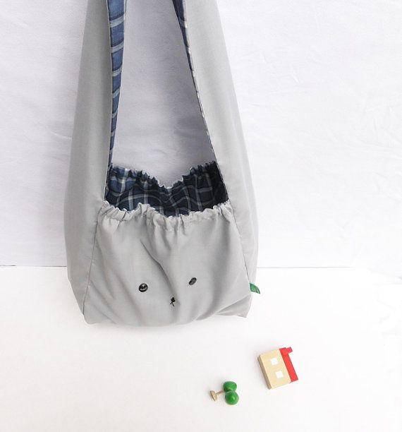 Grey and navy Japanese style bunny rabbit handmade bag by MushyP