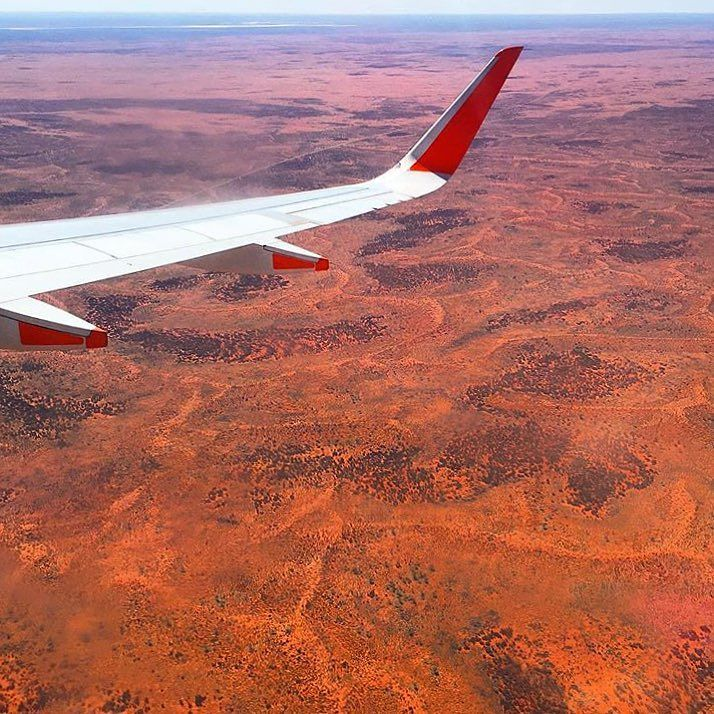 Flying into the red center Down Under Australia!