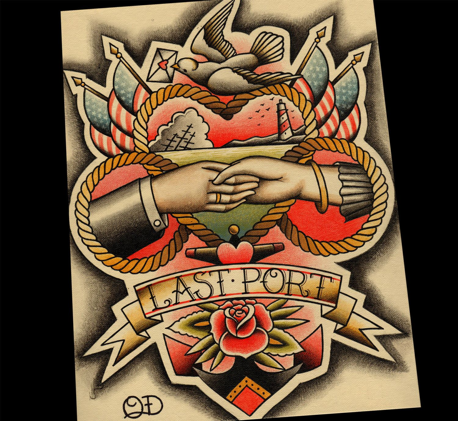 Last Port Traditional Tattoo Print Etsy In 2020 Traditional