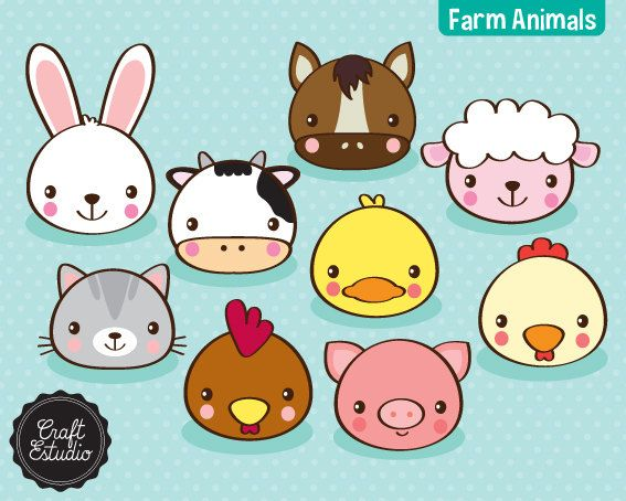 Farm Animals Faces Animales Granja Digital Kit Clipart Cow Rabbit Pig Horse Sheep Cat Rooster Duck High Reso Farm Animals Animal Faces Cat Crafts