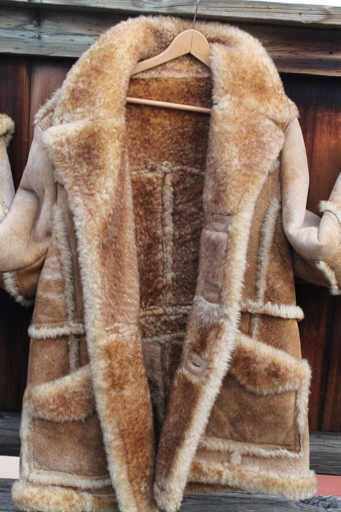 Vtg Mens Genuine Shearling Sheepskin Leather Barn Jacket Car Coat ...