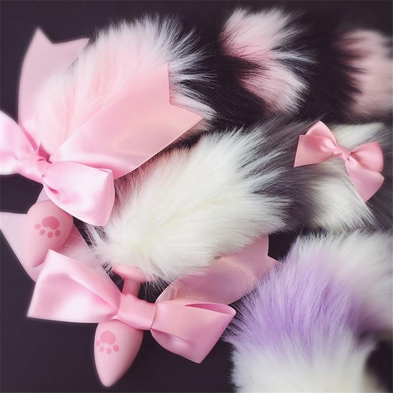 11d51aed16e Pastel Silk Ribbon Fox Tail Plug Furry Pet Play Luxury DDLG Playground