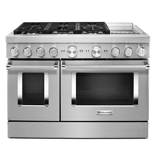 Kfdc558jss In Stainless Steel By Kitchenaid In Huntsville Al Kitchenaid 48 Smart Commercial Style Dual Fuel Range With Griddle Stainless Steel In 2020 Double Convection Oven Double Oven Kitchen Aid