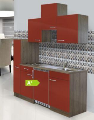 Respekta Küchenzeile KB180EYRC 180 cm Rot-Eiche York Nachbildung - küchenzeile 240 cm mit geräten