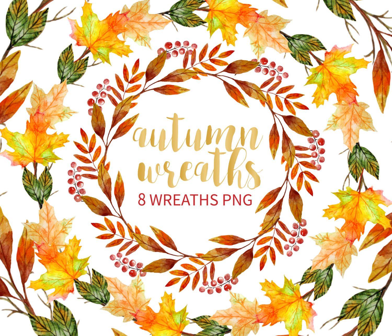 Autumn Wreath Clipart Watercolor Wreath Clipart Hand Drawn Etsy Wreath Drawing Wreath Watercolor Thanksgiving Wreaths