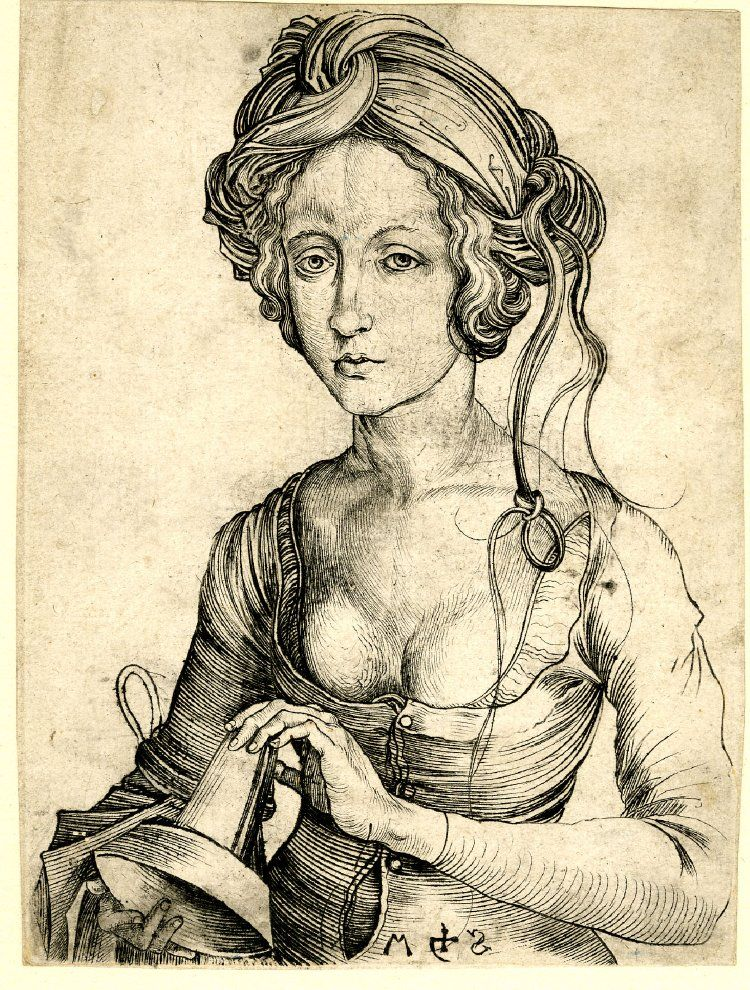 1469-1482  Print made by: Martin Schongauer  A foolish Virgin; half-length, holding an oil-lamp turned upside down Engraving