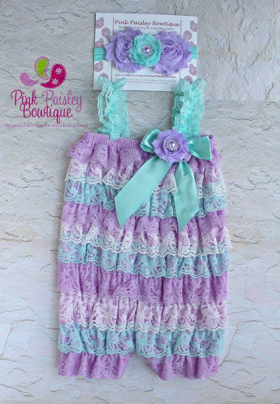 Cake Smash Outfit - Aqua   Lavender Petti Romper - Baby Girl Rompers ... 1c2f806ec0b6